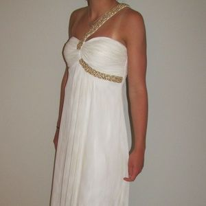 Cache Prom Dress White with Gold Strap